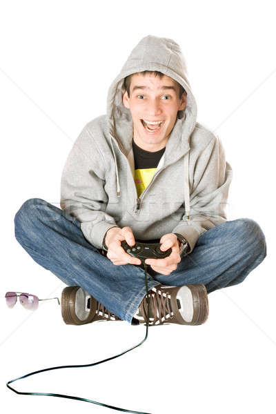 радостный парень джойстик игры утешить человека Сток-фото © acidgrey