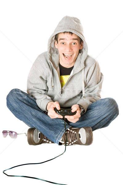 Joyeux Guy joystick jeu consoler homme Photo stock © acidgrey