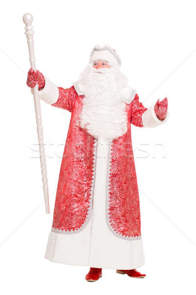 父 霜 着用 赤 コート 孤立した ストックフォト © acidgrey