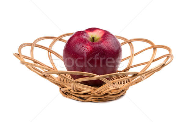 Czerwone jabłko wiklina odizolowany biały wody zdrowia Zdjęcia stock © acidgrey