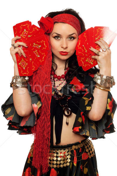 Portrait of expressive gypsy woman with cards Stock photo © acidgrey