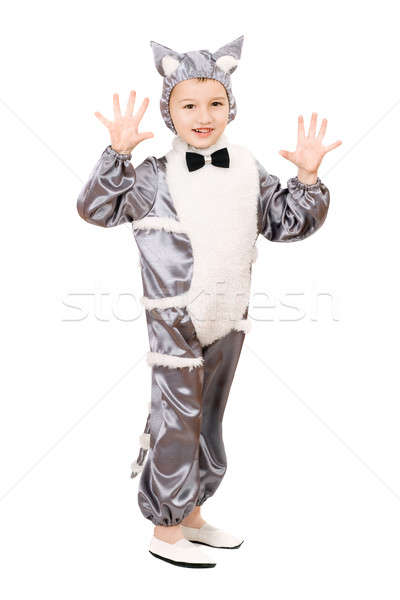 Playful boy dressed as cat Stock photo © acidgrey