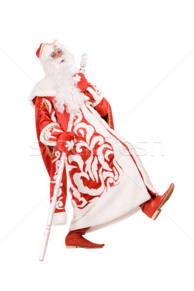 Funny Ded Moroz with a stick Stock photo © acidgrey