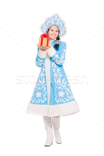 Cheerful brunette with gift. Stock photo © acidgrey