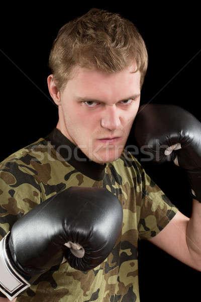 Zdjęcia stock: Zły · młody · człowiek · rękawice · bokserskie · portret · odizolowany · twarz