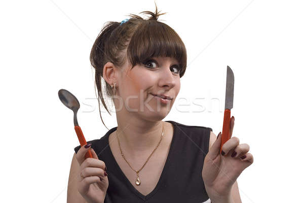 Mad huisvrouw mes lepel grappig foto Stockfoto © acidgrey