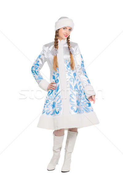 Stock photo: Woman in a suit of snow maiden