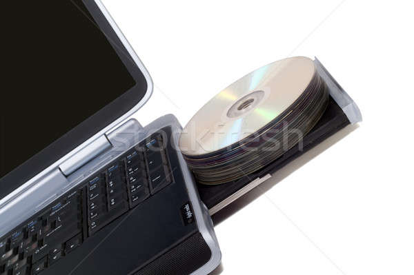 Laptop with overloaded DVD Drive. Isolated on white Stock photo © acidgrey