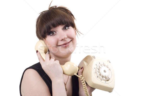 Mad huisvrouw telefoon grappig foto vrouwelijke Stockfoto © acidgrey