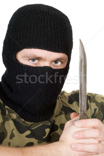 Portrait of the criminal with a knife over white Stock photo © acidgrey