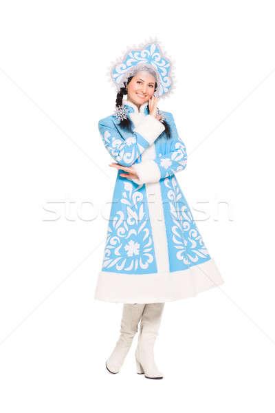 Nice brunette in snow maiden costume Stock photo © acidgrey