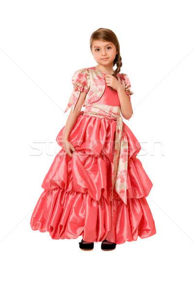 Bájos kislány hosszú ruha izolált nő Stock fotó © acidgrey