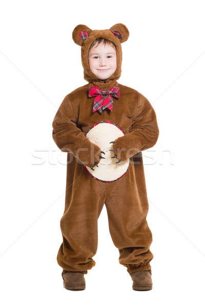 Photo stock: Cute · peu · garçon · posant · ours · costume