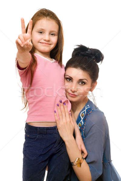Portret jonge moeder weinig dochter geïsoleerd Stockfoto © acidgrey
