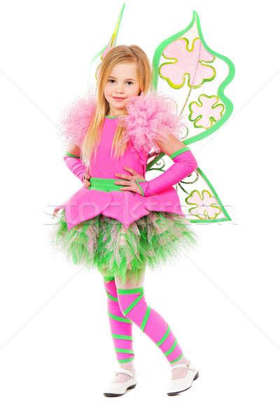 Kecses kicsi szőke nő pózol pillangó ruha Stock fotó © acidgrey
