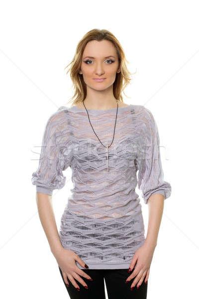 若い女性 ブラウス 肖像 孤立した ファッション 美 ストックフォト © acidgrey