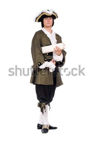 молодым человеком пистолет пиратских костюм изолированный Сток-фото © acidgrey