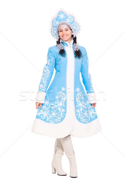Young brunette in a suit of snow maiden Stock photo © acidgrey