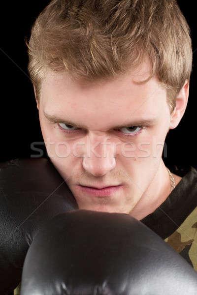 Zdjęcia stock: Portret · zły · człowiek · młody · człowiek · rękawice · bokserskie
