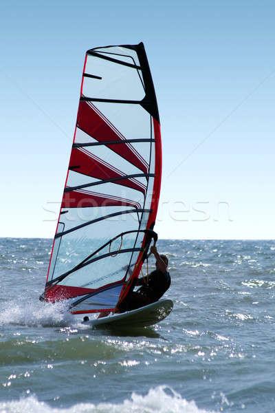 Windsurfer on waves of a sea 3 Stock photo © acidgrey