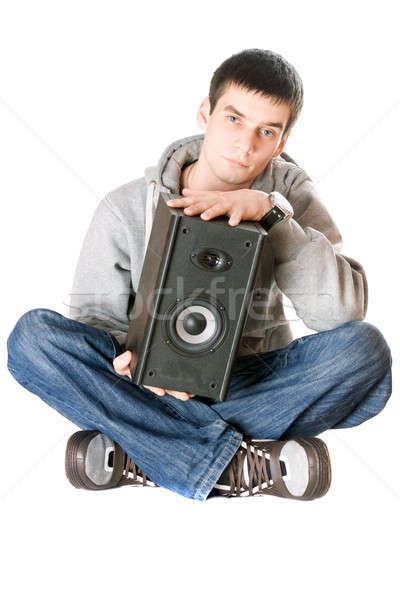 Jonge man spreker handen geïsoleerd man technologie Stockfoto © acidgrey