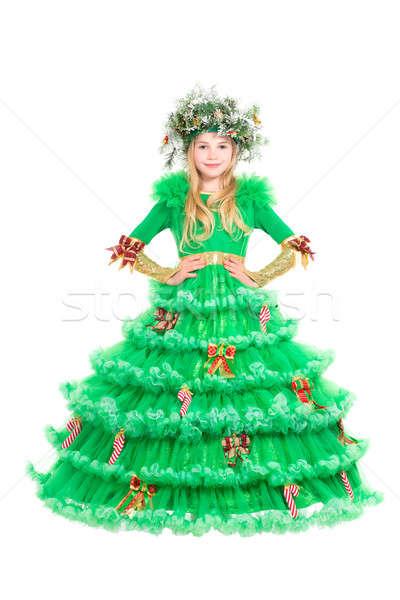 Mooie meisje kerstboom kostuum geïsoleerd witte Stockfoto © acidgrey