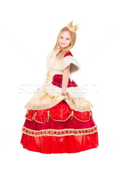 Zdjęcia stock: Uśmiechnięty · dziewczynka · stwarzające · luksusowe · królowej · sukienka