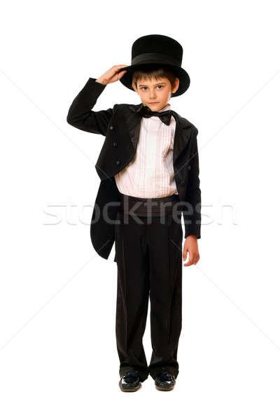 Weinig jongen smoking hoed geïsoleerd vlinder Stockfoto © acidgrey
