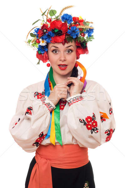 surprised woman in the Ukrainian national clothes Stock photo © acidgrey