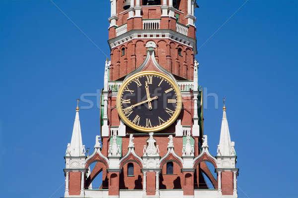 Saat Kremlin kule Moskova duvar star Stok fotoğraf © acidgrey