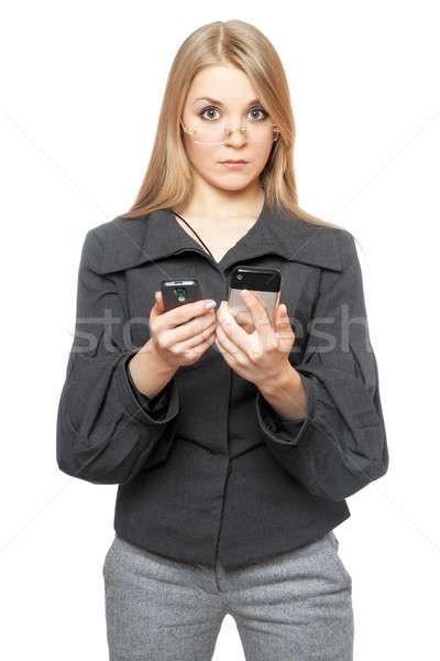 Sorprendido jóvenes gris negocios traje Foto stock © acidgrey