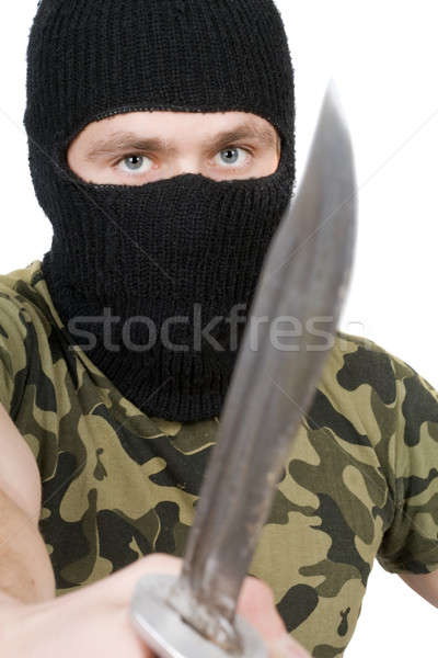 Retrato asesino cuchillo blanco manos hombre Foto stock © acidgrey
