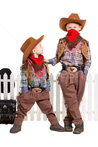 Stock fotó: Kettő · fiúk · pózol · cowboy · jelmezek · izolált