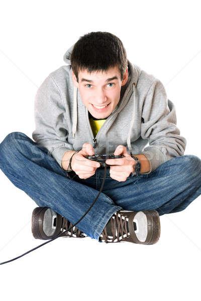 Joven palanca de mando juego consolar aislado hombre Foto stock © acidgrey