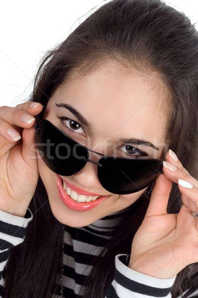 Brunette with sunglasses Stock photo © acidgrey