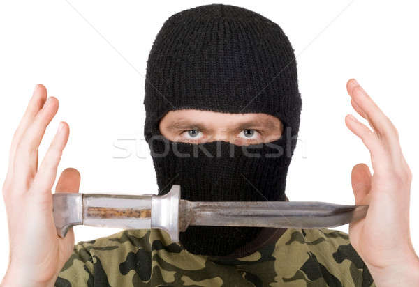 The man with a knife in a black mask. Isolated Stock photo © acidgrey
