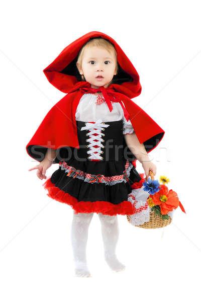 Stockfoto: Mooi · meisje · mand · poseren · weinig · Rood · paardrijden