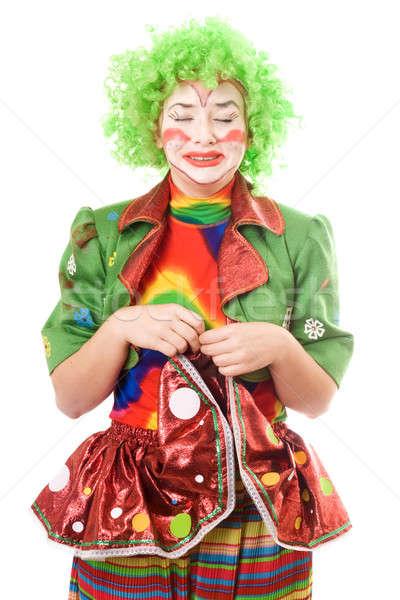 Portret huilen vrouwelijke clown geïsoleerd meisje Stockfoto © acidgrey
