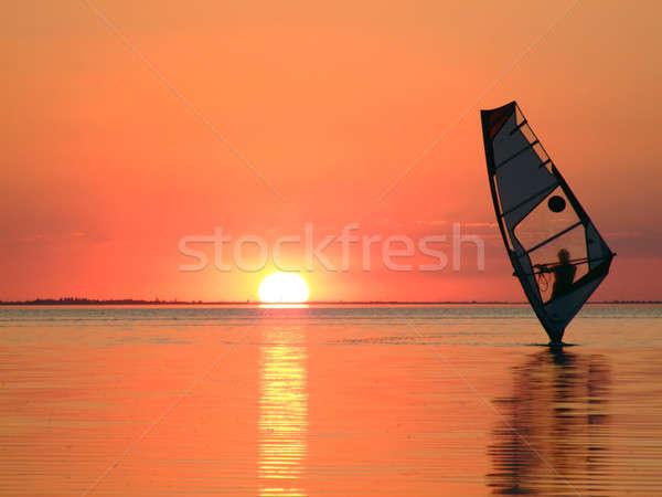 Sziluett hullámok öböl naplemente tengerpart fény Stock fotó © acidgrey