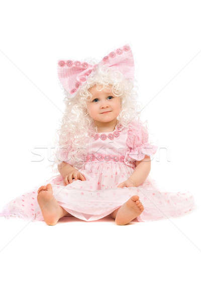 Baby girl in a pink dress Stock photo © acidgrey