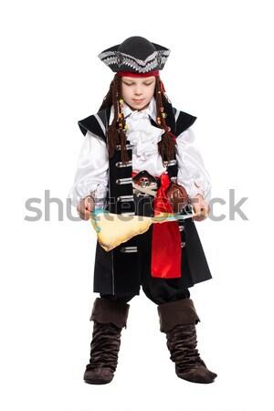 Mosolyog fiatalember kalóz jelmez fegyver színház Stock fotó © acidgrey