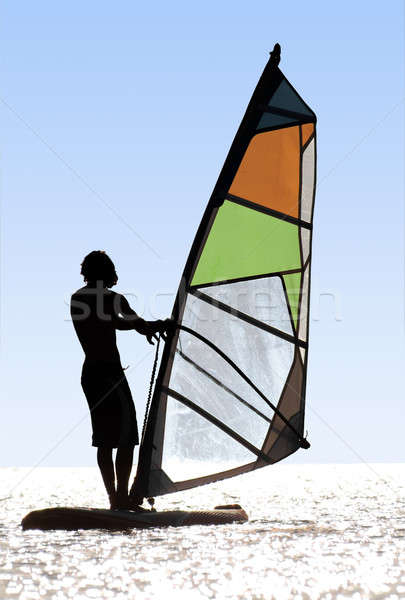 Silhouette of a windsurfer on waves of a bay Stock photo © acidgrey