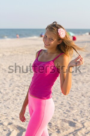 cute teen girl on the beach Stock photo © acidgrey