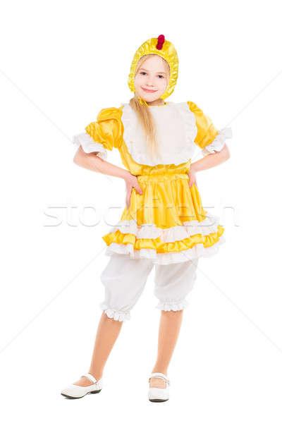Zdjęcia stock: Funny · dziewczynka · jak · kurczaka · odizolowany · biały