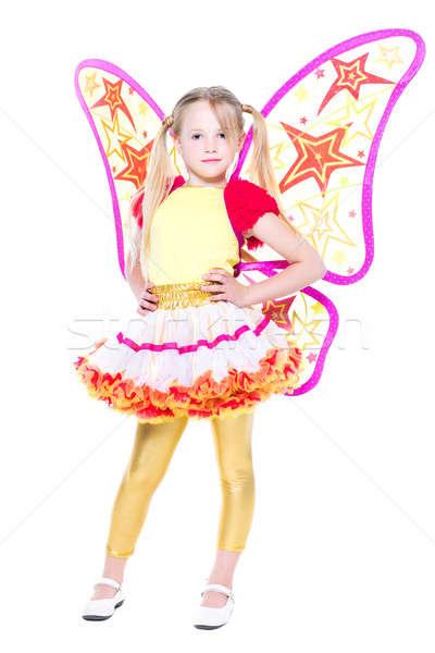Nina como mariposa aislado blanco Foto stock © acidgrey