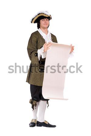 Férfi visel kalóz jelmez fiatalember pisztoly Stock fotó © acidgrey