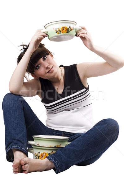 ума домохозяйка кастрюля смешные фотография женщины Сток-фото © acidgrey