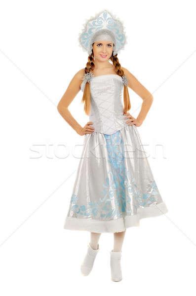 Stock photo: Happy pretty Snow Maiden