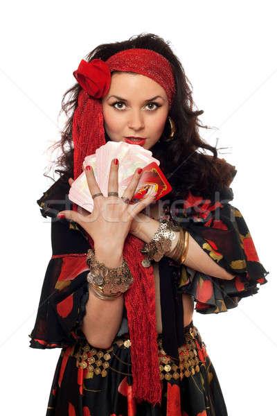 Portré nő kártyák izolált virágok lány Stock fotó © acidgrey