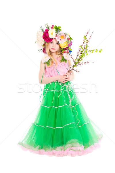 Nina corona cabeza posando floración Foto stock © acidgrey
